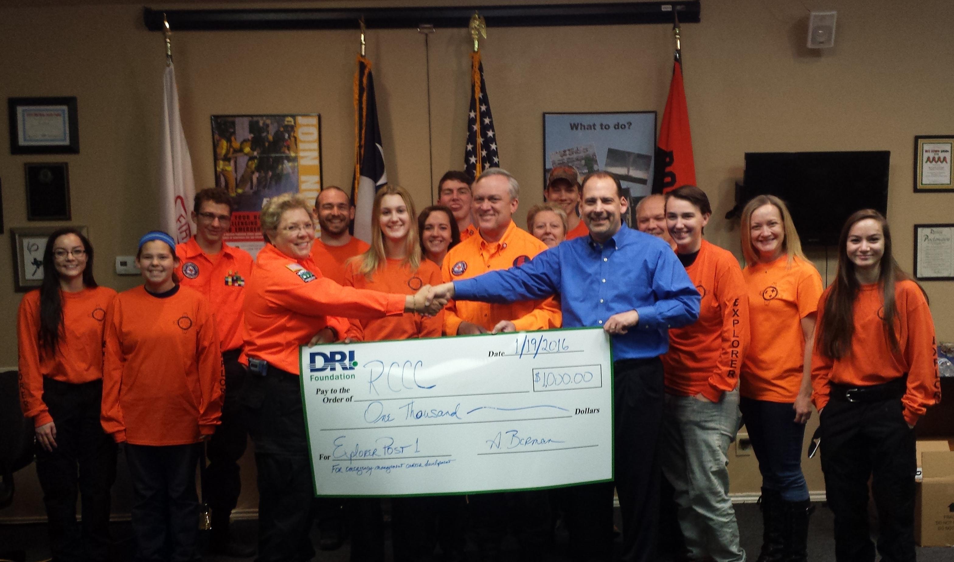 DRI Foundation donation to Explorer Post 1 JDP